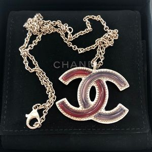Auth Chanel Red /grey resin in gold tone necklace